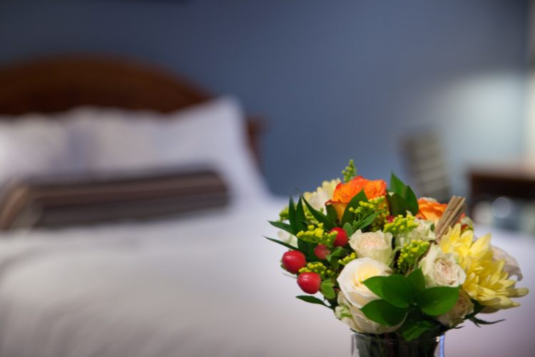 bouquet of flowers on a sidetable
