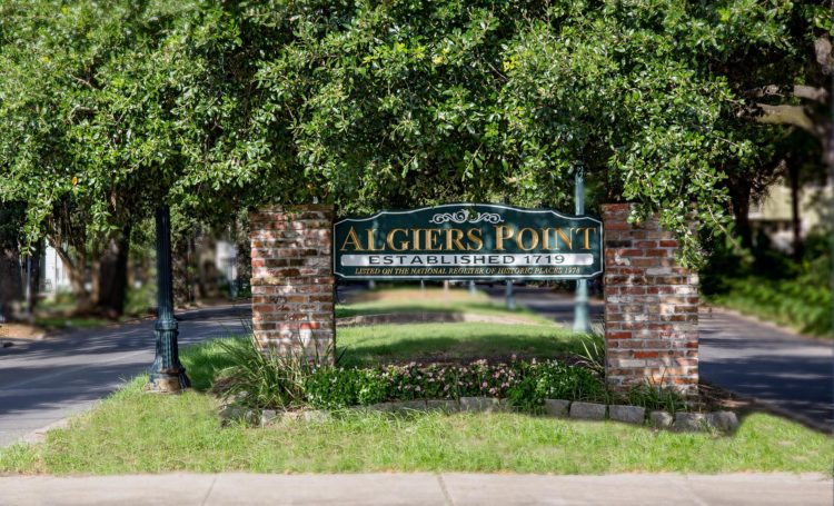 algiers point sign under trees