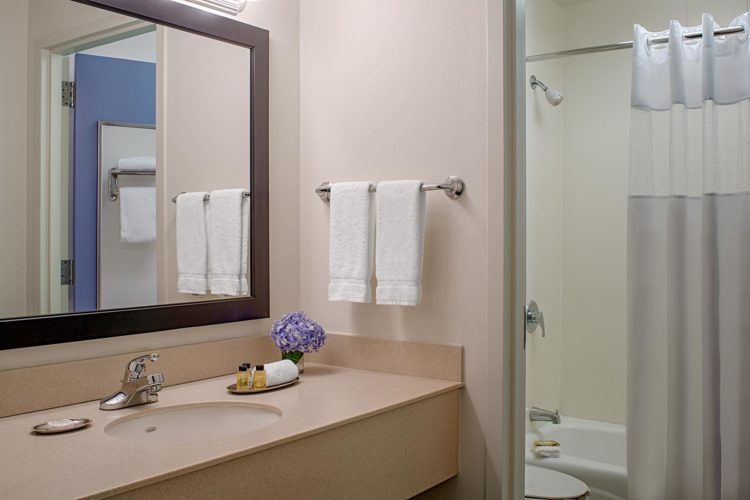 guest bathroom with large mirror over vanity