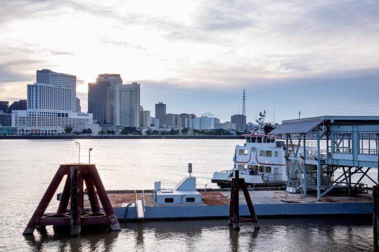 riverside dock overlooking downtown new orleans