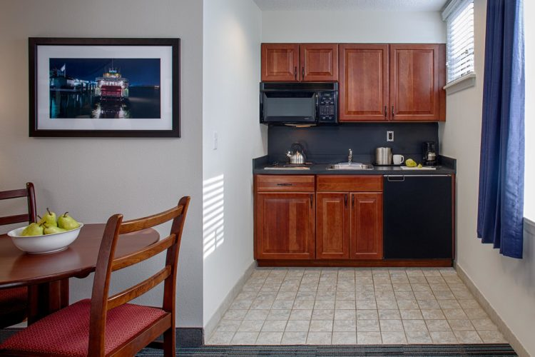 small kitchenette inside guest room
