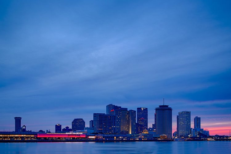 downtown new orleans at nighttime